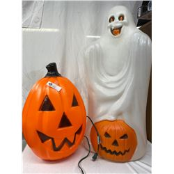 2 Vintage Light Up Halloween Porch Displays