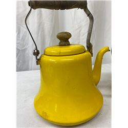 2 Vintage Yellow Enamel Tea Pots