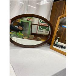 2 Vintage Mid Century Modern Wooden Framed Mirrors