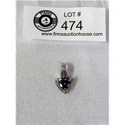 10k Gold and 4 karat Amethyst Diamond Pendant