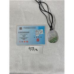 Chinese Jade 2 Sided Pendant with COA 18.3 gram Bat/ Calabashl