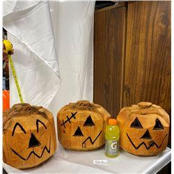 Lot of 3 Large Hand Carved Solid Cedar Pumpkins