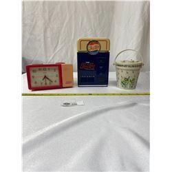 3 Vintage Radios ( Mickey, Garden,Clock) Plus Pepsi Coin Bank 1995