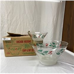 Anchor Hocking Chip and Dip Set. Mint In Original Box