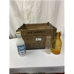 Vintage Wooden Dairy Crate with Bottles