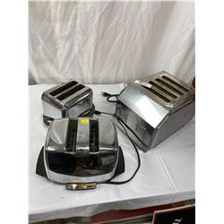 3 Vintage Chrome Toasters