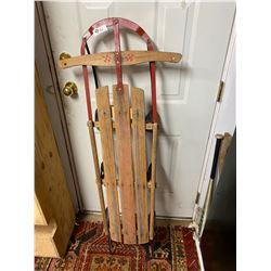 Vintage Metal and Wood Straight Tobaggon