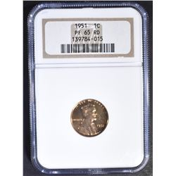 1951 LINCOLN CENT NGC PF-65 RD