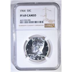 1964 KENNEDY HALF DOLLAR NGC PF-69 CAMEO