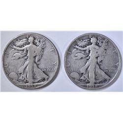 2- 1938-D WALKING LIBERTY HALF DOLLARS, VG/F