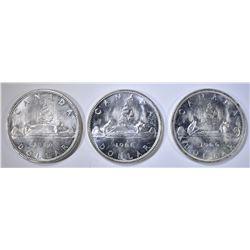 3-CH BU 1966 CANADIAN SILVER DOLLARS
