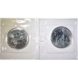 2-1989 CANADIAN 1oz SILVER MAPLE LEAF COINS