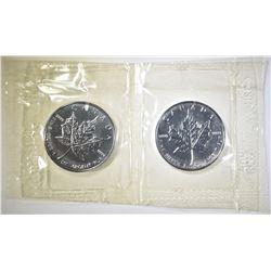 2-1998 1-oz SILVER CANADIAN MAPLE LEAF COINS