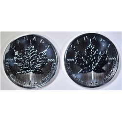 2- 2006 BU CANADIAN 1oz SILVER MAPLE LEAF COINS