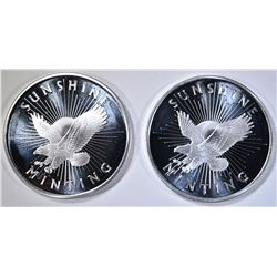 2-SUNSHINE MINT ONE OUNCE .999 SILVER ROUNDS