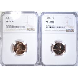 1956 & 1957 LINCOLN CENTS, BOTH NGC PF-67 RD