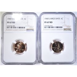1960 SMALL & LARGE DATE LINCOLN CENTS, NGC PF-67