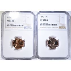 NGC GRADED LINCOLN CENTS; 1963 PF-68 RD &
