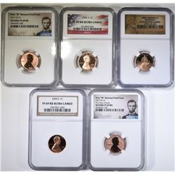 5 NGC GRADED LINCOLN CENTS, 2004-S PF 69 RD UC,