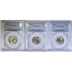PCGS JEFFERSON NICKELS; 1943 & 44-S MS-66 AND