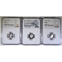 SILVER ROOSEVELT DIME LOT; 1958 NGC PF 67,