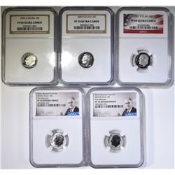 PROOF NGC DIMES; 1995-S SILVER PF-69 UC,