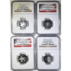 4- NGC PF-69 ULTRA CAMEO STATE QUARTERS; 2000-S