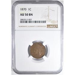 1870 INDIAN CENT NGC AU-50
