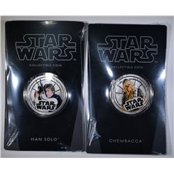 SET OF 2 2011 NIUE $1 HAN SOLO & CHEWBACCA COINS