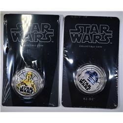 SET OF 2 2011 NIUE $ C-3PO & R2-D2 COINS