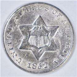 1852 3-CENT SILVER  CH BU