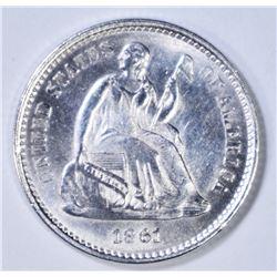 1861 SEATED HALF DIME  CH/GEM BU