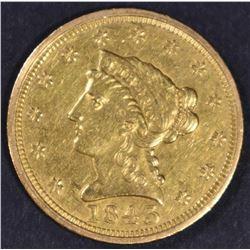 1843 $2.5 GOLD LIBERTY  NICE BU
