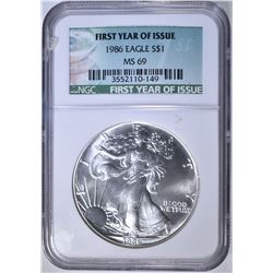 1986 AM. SILVER EAGLE, NGC MS-69 FIRST YEAR
