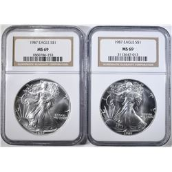 2- 1987 SILVER EAGLES, NGC MS-69