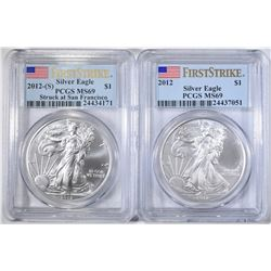 2012 & 2012-S SILVER EAGLES, PCGS MS-69 FIRST