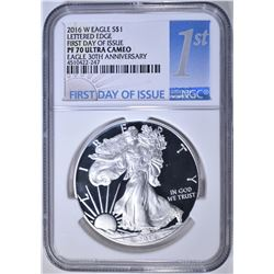 2016-W LETTERED EDGE SILVER EAGLE, NGC PF-70