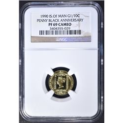1990 IS OF MAN G 1/10c, NGC PF-69 CAMEO