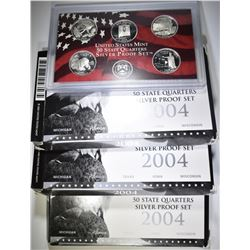 3-2004, 2008 PROOF SILVER QUARTERS