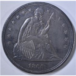 1866 SEATED DOLLAR AU/BU OLD CLEANING
