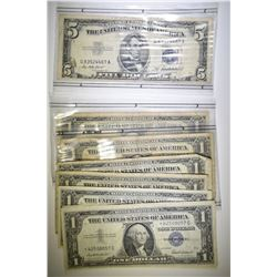 1953 $5 SILVER CERTI & 7 $1 SILVER CERT STAR NOTES