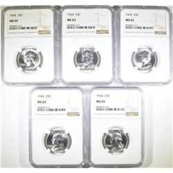 (4) 1964 WASHINGTON QTR NGC MS65