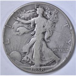 1938-D WALKING LIBERTY HALF, FINE