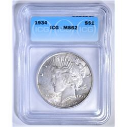 1934 PEACE DOLLAR, ICG MS-62