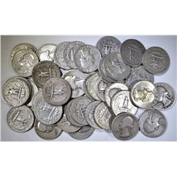 40-MIXED DATE CIRC 90% SILVER QUARTERS