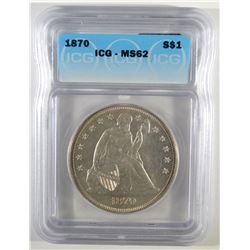 1870 SEATED LIBERTY DOLLAR ICG MS-62