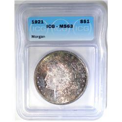 1921 MORGAN DOLLAR   ICG MS-63
