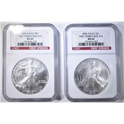 2 2006 AMERICAN SILVER EAGLES  NGC MS-69