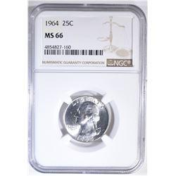 1964 WASHINGTON QUARTER  NGC MS-66