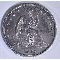 1839 DRAPERY SEATED LIBERTY HALF DOLLAR CH AU